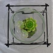 Glass Floating Candle Holder Centrepiece on Metal Frame