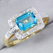 Yellow Gold Swiss Blue Topaz & Diamond Ring